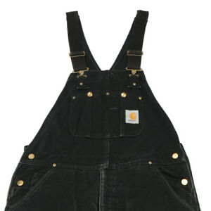 CARHARTT Quilt Lined Dungarees | 34 x 30 | Bib Canvas Overalls Duck Workwear