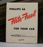 Vintage Matchbook I1 Dysart Iowa Phillips 66 Flite Fuel Car Plane Airplane Gas