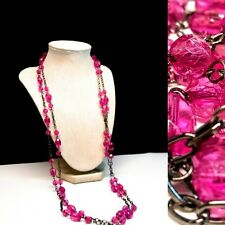 Pink Plastic Crystal Opera Length Chain & Link Necklace