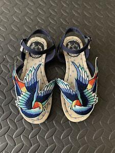 Miss L Fire Swallow Blue Bird Sandals Shoes Size 3 EU36