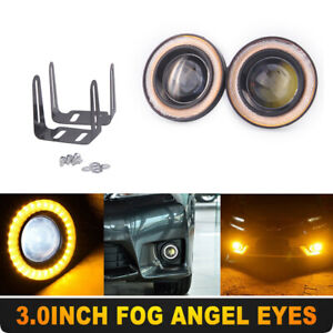 "2x 3"" inch LED Fog Light Round Yellow COB Angel Eyes Halo DRL Driving Car Truck"