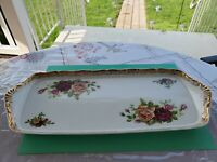"MZ Altrohlau cmr Czechoslovakia Vintage ""Old Country Rose"" China Rectangular Dsh"