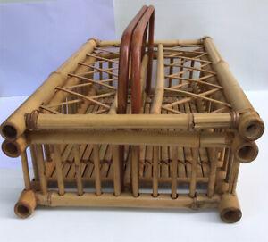 Vintage Thai Handmade Bamboo & Rattan Basket Storage Rectangle Shape Home Decor