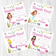 Personalised THANK YOU CARDS - Mermaid Under The Sea - Girl's Birthday Party