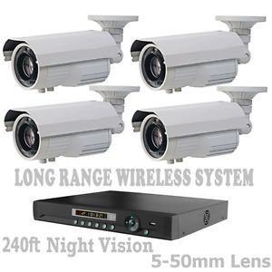 LONG RANGE WIRELESS TRANSMIT TO 6500 FT  IP Security Cameras Night Vision + NVR