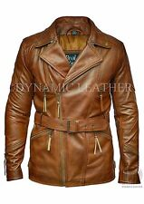 Mens Brown 3/4 Motorcycle Biker Long Cow Hide Leather Jacket