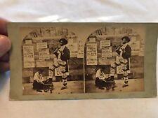 Black Americana Vintage Shoe Shine Stereo view Card