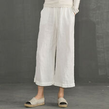 Women 3/4 Linen Trouser Pants Elastic Waist Wide Leg Palazzo Lounge Retro Casual