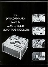 Javelin X 400/Sanyo VTR-1200 Video Tape Deck Recorder Rare Orig Dealer Brochure