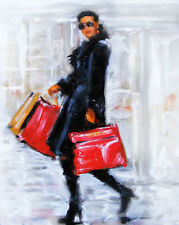Shoppers Oil Painting: Can't Stop Gotta Shop! The Perfect Gift Idea!