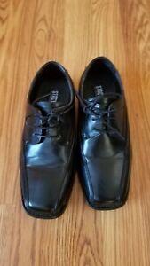 STACY ADAMS Youth Boys Black Dress  Shoes - Dress  Church Sz. 2  EUC
