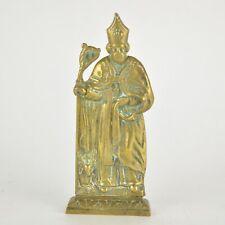 Figurine méplat de Saint Hubert en laiton sur socle 19ème 22 cm