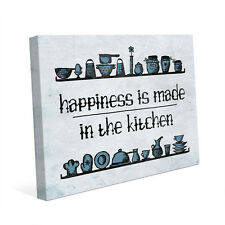 Happiness is Made in the Kitchen Quote in Blue Wall Art Print 16x20 REDUCED!