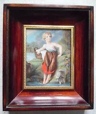 ANTIQUE FRENCH MINIATURE PAINTING PORTRAIT WOODEN FRAME SIGNED