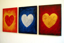 original acrylic Painting Set Modern Heart Abstract impasto Wall Decor art love