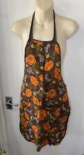More details for vintage st michael m&s brown orange poppy floral apron 60s 70s mid century