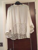 Zara Cream  Back Lace Chiffon Oversized Blouse Top Size M