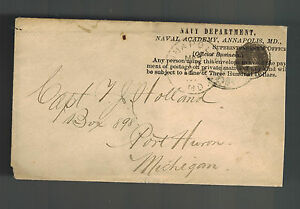 1888 Annapolis MD Naval Academy Official Cover to Port Huron MI