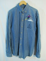 80s VTG BIG DOGS Men's Ski with the Big Dogs Blue Denim Long Sleeve Shirt Size L