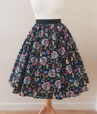 1950s Circle Skirt Sugar Skulls - All Sizes - Floral Paisley Rockabilly Pin Up