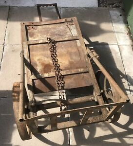 Large vintage railway Platform Trolley / Cart Cast Iron Wheels Heavy Sack Truck