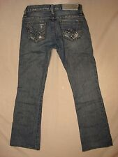 Women GUESS JEANS  size 24  FOXY FLARE LEG DISTRESSED STRETCH RHINESTONE POCKETS