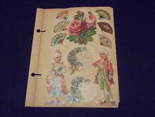 Victorian scrapbook page, roses, hand fans, children in fancy dress