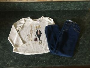 Lot Of 2 Baby Gap Sparkle Sweatshirt & Old Navy Straight Denim Jeans Outfit 5T