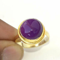 Natural Purple Jade Gemstone Silver Yellow Gold Handmade Gift Ring Size 8