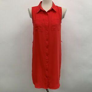 Adrienne Vittadini Women's Dress Size 2 Orange Sleeveless Button Down
