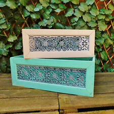 Mint Green or Rose White Wooden Display Storage Box Crates Metal Filigree Panel