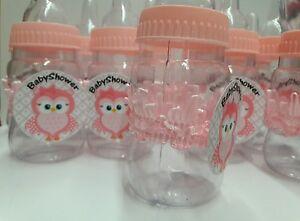 12 Pink Fillable baby bottle Decorations BabyShower PLASTIC -OWL