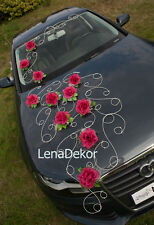 wedding car decoration prom limusine decoration retro dark pink