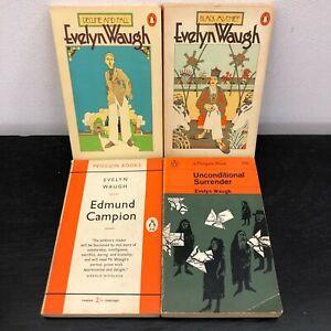 Vintage Penguin Evelyn Waugh Books x4 (50s, 60s, 70s)