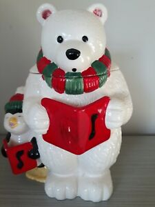 Cookie Jar ~ Holiday Christmas Ceramic Polar Bear ~ Hand Painted ~ The Cellar
