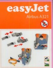 EASY JET British - UK Airlines Airbus A 321 RARE Airline SAFETY CARD sc869 ax