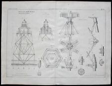 Stampa Print FARO FERRO SISTEMA MITCHELL Secca Meloria Livorno 1868