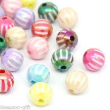 "50PCs Mixed Stripe Round Resin Spacer Beads 12mm(4/8"")Dia."