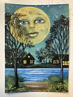 ACEO Landscape Full Moon Lake House Night Trees Face Original Motyl Painting