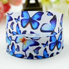1M X 22mm Grosgrain Ribbon Craft DIY Cake Decoration Hair Bows 🦋 Butterfly Blue