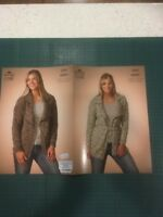 """King Cole Aran 3523 Ladies Knitting Pattern 28-30"""" 44-46"""" Jacket Cardigan"""