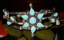 Vintage Stunning Sterling Silver and Turquoise Bangle Cuff Bracelet Very Nice