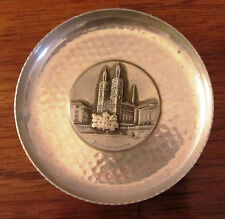 Vintage Aluminum Plate Zurich Grossmunster Central Scene By Alpha Switzerland