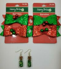 Merry Brite Barrettes Girls Hair Accessories + Custom Made Green Earrings