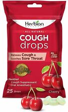 Herbion Naturals Cough Drops with Cherry Flavor – 25Ct Pouch –Oral...