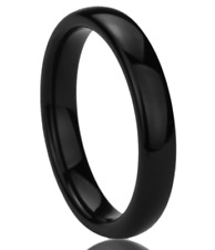 4mm Women Stainless Steel Polished Wedding Engagement Band Ring Black Size 8