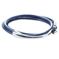 Pulsera brazalete de cuero PU Puno Multicapa Moda Mujer 330x9mm Azul oscuro E7D6