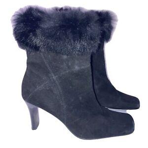 woman's Karen Scott Faux fur top black heeled boots size 7