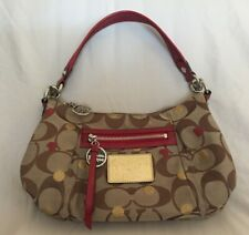 COACH Small Beige with Red Accents Coach Poppy Series Hand Shoulder Bag Preowned