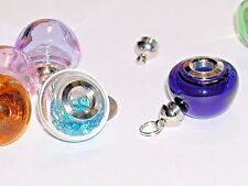 1pc  Gnome mushroom little Pendant Glass BOTTLE SCREW necklace wide Mouth BLUE *